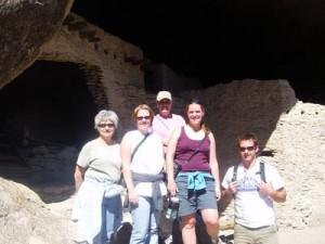 El, Dana, Liz, Stef, Sam at the Gila Cliff Dwellings