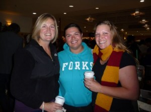 Jen, Sculls and I at the Deathly Hallows midnight screening